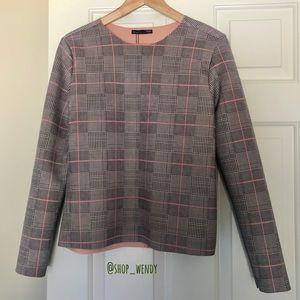 Zara Plaid Boxy Long Sleeve Top Size M